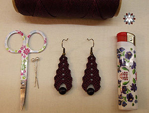 Micro-macrame knotted earring photo tutorial