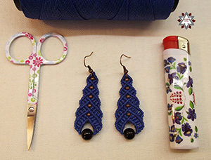 Micro-macrame earring tutorial DIY