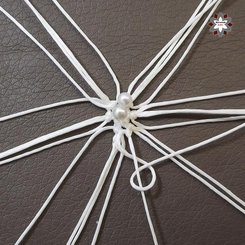 Macramotiv micro-macrame knotted snowflake macramotiv.com how to knotting snowflake ornament migramah DIY star iceflower makramé csomózás macramee christmas ornament instructions step-by-step steps handcraft