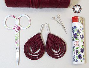 Macramotiv macrame knotted earring tutorial DIY migramah makramé macramé jewellery fülbevaló textile instructions howto steps stepbystep