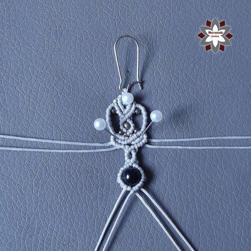 Macramotiv micro-macrame knotted earring tutorial diy instructions howto knotting macramé makramé fülbevaló csomózás csomózott ékszer leírás migramah macramotiv.com